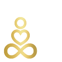 Logo aus Unendlichacht, Herz und Kreis als Person in Meditationshaltung in Gold