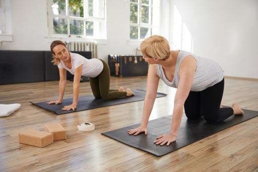 Angela Sauer mit einer Personal Training Kundin im Vierfüßlerstand bei einer Erklärung für den Online Kurs Rückenzeit